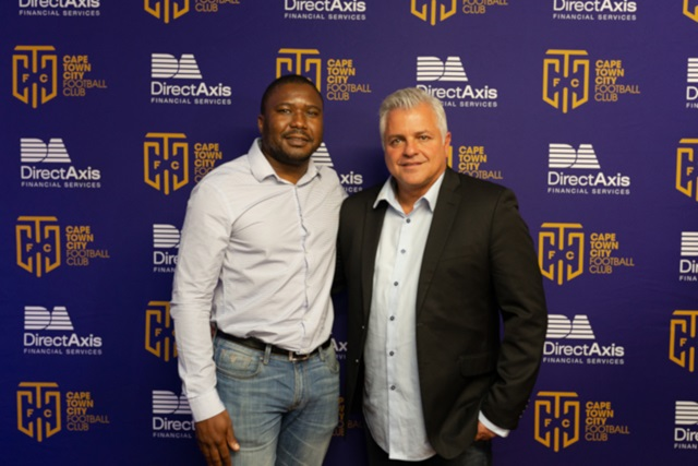 CEO of DirectAxis Financial Services Robert Gwerengwe and John Comitis owner of Cape Town City FC